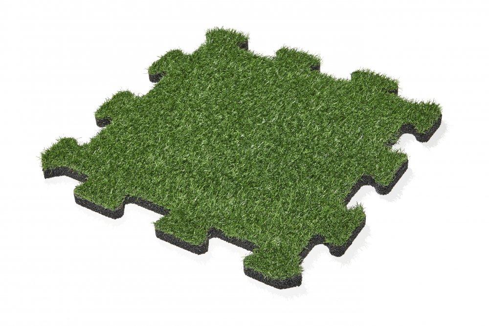 Gumová dlažba s umělou trávou puzzle